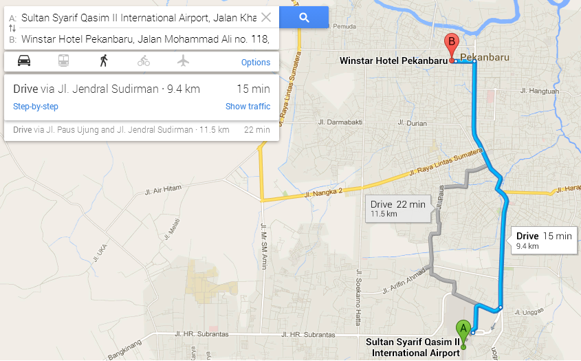 Google Map Direction Airport to Hotel (Sep 2013)